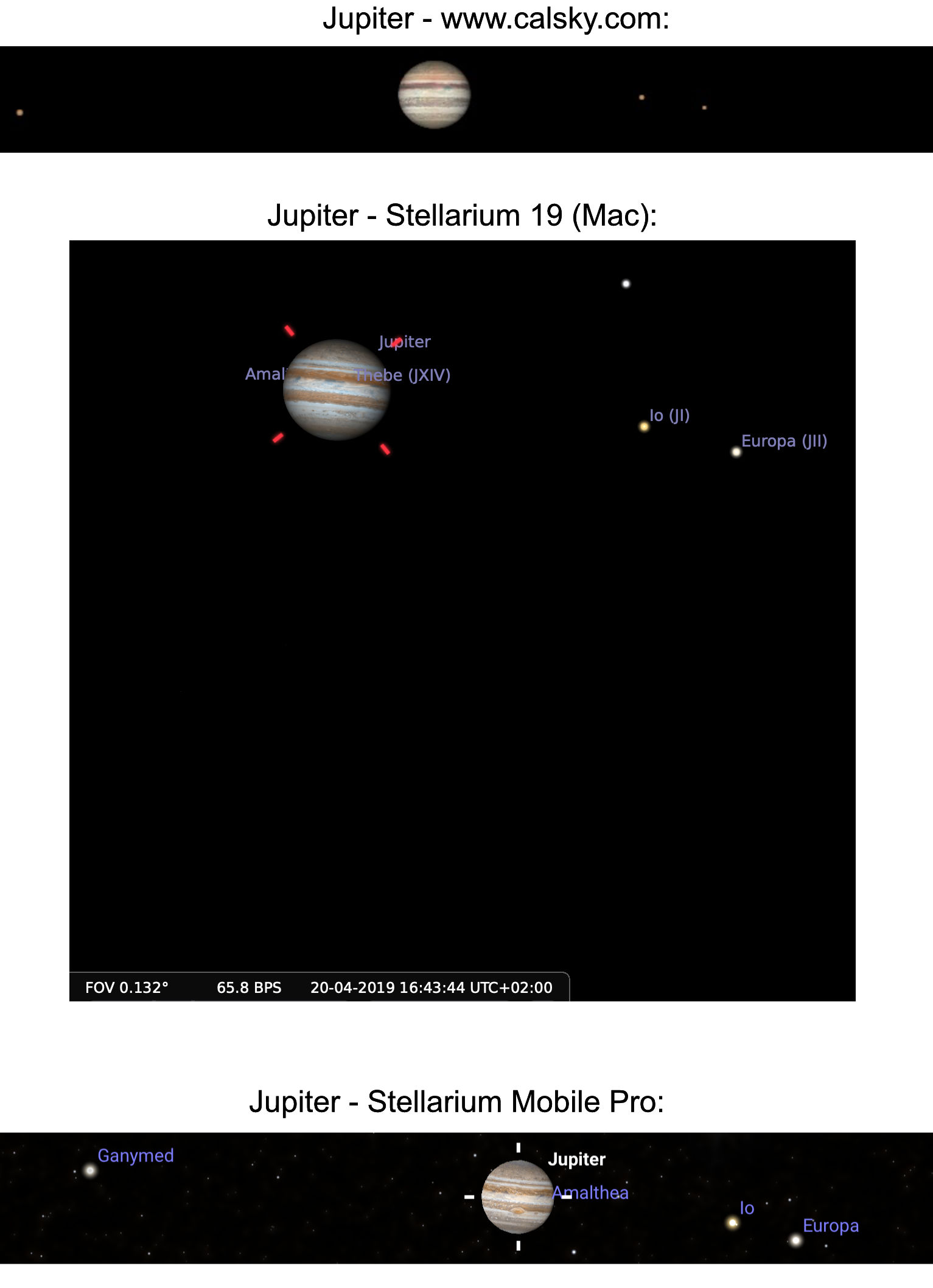 Jupiter differences
